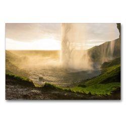 Premium Textil-Leinwand 90 x 60 cm Quer-Format Seljandsfoss Island | Wandbild, HD-Bild auf Keilrahmen, Fertigbild auf hochwertigem Vlies, Leinwanddruck von Johann Schörkhuber