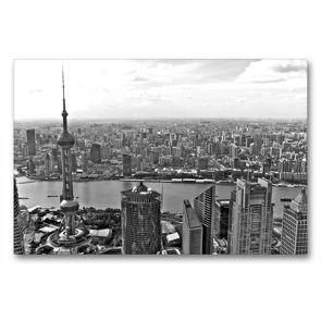 Premium Textil-Leinwand 90 x 60 cm Quer-Format Shanghai Skyline mit Pearl Tower und Huangpu River | Wandbild, HD-Bild auf Keilrahmen, Fertigbild auf hochwertigem Vlies, Leinwanddruck von Ralf Wittstock