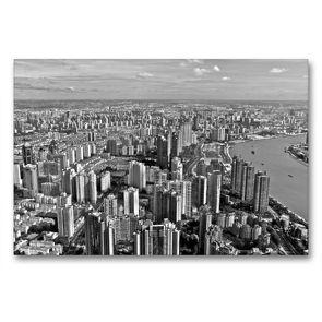 Premium Textil-Leinwand 90 x 60 cm Quer-Format Shanghai Skyline | Wandbild, HD-Bild auf Keilrahmen, Fertigbild auf hochwertigem Vlies, Leinwanddruck von Ralf Wittstock