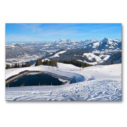 Premium Textil-Leinwand 90 x 60 cm Quer-Format Skigebiet Hartkaiser am Wilden Kaiser | Wandbild, HD-Bild auf Keilrahmen, Fertigbild auf hochwertigem Vlies, Leinwanddruck von SusaZoom