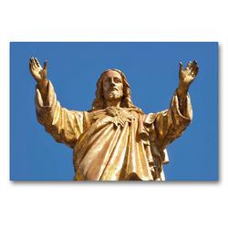 Premium Textil-Leinwand 90 x 60 cm Quer-Format Skulptur von Jesus | Wandbild, HD-Bild auf Keilrahmen, Fertigbild auf hochwertigem Vlies, Leinwanddruck von Marion Meyer @ Stimmungsbilder1