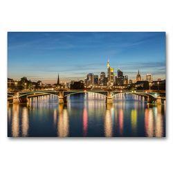 Premium Textil-Leinwand 90 x 60 cm Quer-Format Skyline Frankfurt und Ignatz-Bubis-Brücke | Wandbild, HD-Bild auf Keilrahmen, Fertigbild auf hochwertigem Vlies, Leinwanddruck von Michael Valjak