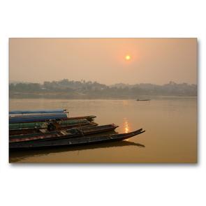 Premium Textil-Leinwand 90 x 60 cm Quer-Format Sonnenaufgang am Mekong Fluss | Wandbild, HD-Bild auf Keilrahmen, Fertigbild auf hochwertigem Vlies, Leinwanddruck von Christian Heeb