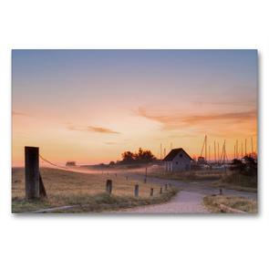 Premium Textil-Leinwand 90 x 60 cm Quer-Format Sonnenaufgang am Seglerhafen in Vitte | Wandbild, HD-Bild auf Keilrahmen, Fertigbild auf hochwertigem Vlies, Leinwanddruck von Stephan Schulz