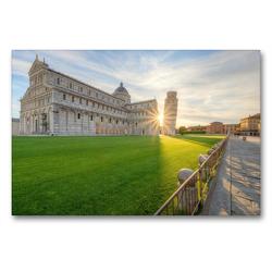 Premium Textil-Leinwand 90 x 60 cm Quer-Format Sonnenaufgang in Pisa | Wandbild, HD-Bild auf Keilrahmen, Fertigbild auf hochwertigem Vlies, Leinwanddruck von Michael Valjak
