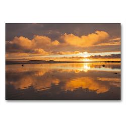 Premium Textil-Leinwand 90 x 60 cm Quer-Format Sonnenuntergang am Plage de Kerhillio   Wandbild, HD-Bild auf Keilrahmen, Fertigbild auf hochwertigem Vlies, Leinwanddruck von Etienne Benoît