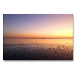 Premium Textil-Leinwand 90 x 60 cm Quer-Format Sonnenuntergang im Wattenmeer | Wandbild, HD-Bild auf Keilrahmen, Fertigbild auf hochwertigem Vlies, Leinwanddruck von Steffani Lehmann
