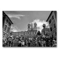 Premium Textil-Leinwand 90 x 60 cm Quer-Format Spanische Treppe in Rom | Wandbild, HD-Bild auf Keilrahmen, Fertigbild auf hochwertigem Vlies, Leinwanddruck von kattobello