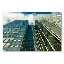 Premium Textil-Leinwand 90 x 60 cm Quer-Format Spiegelnde Glassfassaden eines Hochhauses mit Himmelsblick | Wandbild, HD-Bild auf Keilrahmen, Fertigbild auf hochwertigem Vlies, Leinwanddruck von Dirk Grasse