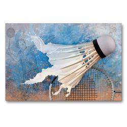 Premium Textil-Leinwand 90 x 60 cm Quer-Format SPORT trifft SPLASH – Badminton | Wandbild, HD-Bild auf Keilrahmen, Fertigbild auf hochwertigem Vlies, Leinwanddruck von Marion Krätschmer