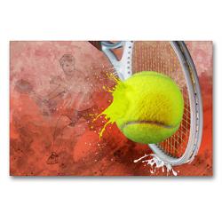 Premium Textil-Leinwand 90 x 60 cm Quer-Format SPORT trifft SPLASH – Tennis | Wandbild, HD-Bild auf Keilrahmen, Fertigbild auf hochwertigem Vlies, Leinwanddruck von Marion Krätschmer