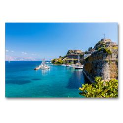 Premium Textil-Leinwand 90 x 60 cm Quer-Format Stadthafen auf Korfu | Wandbild, HD-Bild auf Keilrahmen, Fertigbild auf hochwertigem Vlies, Leinwanddruck von Janita Webeler