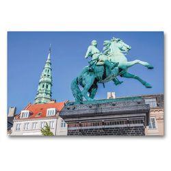 Premium Textil-Leinwand 90 x 60 cm Quer-Format Statue von Absalon auf dem Hojbro Platz   Wandbild, HD-Bild auf Keilrahmen, Fertigbild auf hochwertigem Vlies, Leinwanddruck von Christian Müringer