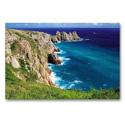Premium Textil-Leinwand 90 x 60 cm Quer-Format Steile Klippen, rauhe See an der Küste von Cornwall – das englische Paradies im Südwesten des Vereinigten Königreichs | Wandbild, HD-Bild auf Keilrahmen, Fertigbild auf hochwertigem Vlies, Leinwanddruck von CALVENDO