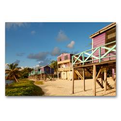 Premium Textil-Leinwand 90 x 60 cm Quer-Format Stelzenhäuser Caye Caulker, Belize | Wandbild, HD-Bild auf Keilrahmen, Fertigbild auf hochwertigem Vlies, Leinwanddruck von Askson Vargard