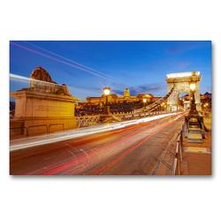 Premium Textil-Leinwand 90 x 60 cm Quer-Format Széchenyi Chain Bridge (Budapest-Ungarn) | Wandbild, HD-Bild auf Keilrahmen, Fertigbild auf hochwertigem Vlies, Leinwanddruck von TJPhotography