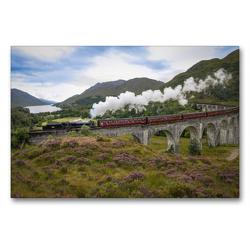 Premium Textil-Leinwand 90 x 60 cm Quer-Format The Jacobite befährt den Glenfinnan-Viadukt | Wandbild, HD-Bild auf Keilrahmen, Fertigbild auf hochwertigem Vlies, Leinwanddruck von Holger John