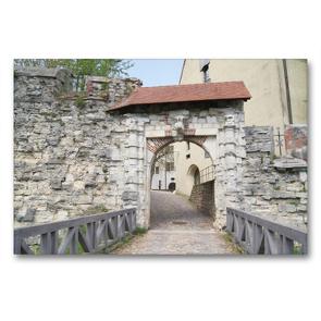 Premium Textil-Leinwand 90 x 60 cm Quer-Format Tor zur Burg Hellenstein   Wandbild, HD-Bild auf Keilrahmen, Fertigbild auf hochwertigem Vlies, Leinwanddruck von Kattobello