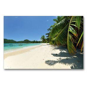 Premium Textil-Leinwand 90 x 60 cm Quer-Format Traumhafter Strand Seychellen | Wandbild, HD-Bild auf Keilrahmen, Fertigbild auf hochwertigem Vlies, Leinwanddruck von Jürgen Feuerer