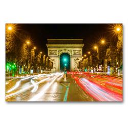 Premium Textil-Leinwand 90 x 60 cm Quer-Format Triumphbogen in Paris bei Nacht | Wandbild, HD-Bild auf Keilrahmen, Fertigbild auf hochwertigem Vlies, Leinwanddruck von Christian Müller