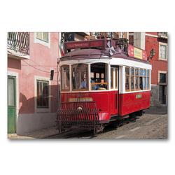 Premium Textil-Leinwand 90 x 60 cm Quer-Format Typische Rote Straßenbahn vor bunten Fassaden in Lissabon, Portugal | Wandbild, HD-Bild auf Keilrahmen, Fertigbild auf hochwertigem Vlies, Leinwanddruck von Marion Meyer © Stimmungsbilder1