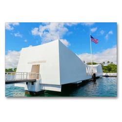 Premium Textil-Leinwand 90 x 60 cm Quer-Format U.S.S. Arizona Memorial in Pearl Harbor | Wandbild, HD-Bild auf Keilrahmen, Fertigbild auf hochwertigem Vlies, Leinwanddruck von Christian Müller