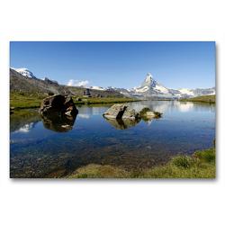 Premium Textil-Leinwand 90 x 60 cm Quer-Format Und ewig lockt das Matterhorn…. | Wandbild, HD-Bild auf Keilrahmen, Fertigbild auf hochwertigem Vlies, Leinwanddruck von Susan Michel