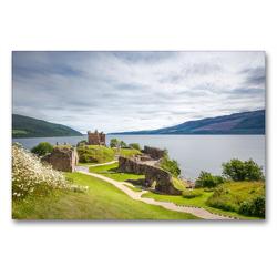 Premium Textil-Leinwand 90 x 60 cm Quer-Format Urquhart Castle, Loch Ness   Wandbild, HD-Bild auf Keilrahmen, Fertigbild auf hochwertigem Vlies, Leinwanddruck von Harald Schnitzler
