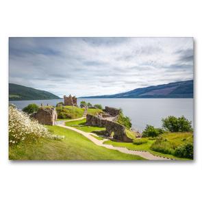 Premium Textil-Leinwand 90 x 60 cm Quer-Format Urquhart Castle, Loch Ness | Wandbild, HD-Bild auf Keilrahmen, Fertigbild auf hochwertigem Vlies, Leinwanddruck von Harald Schnitzler