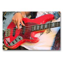 Premium Textil-Leinwand 90 x 60 cm Quer-Format Vintage Bassgitarre | Wandbild, HD-Bild auf Keilrahmen, Fertigbild auf hochwertigem Vlies, Leinwanddruck von Renate Bleicher