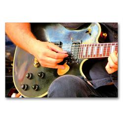 Premium Textil-Leinwand 90 x 60 cm Quer-Format Vintage Les Paul Gitarre | Wandbild, HD-Bild auf Keilrahmen, Fertigbild auf hochwertigem Vlies, Leinwanddruck von Renate Bleicher