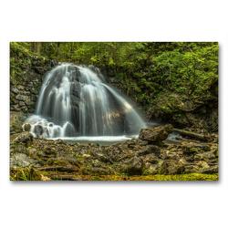 Premium Textil-Leinwand 90 x 60 cm Quer-Format Wasserfall bei Oberstdorf | Wandbild, HD-Bild auf Keilrahmen, Fertigbild auf hochwertigem Vlies, Leinwanddruck von Michael Wenk