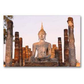 Premium Textil-Leinwand 90 x 60 cm Quer-Format Wat Mahathat, Sukhothai Historical Park, Thailand | Wandbild, HD-Bild auf Keilrahmen, Fertigbild auf hochwertigem Vlies, Leinwanddruck von Christian Heeb