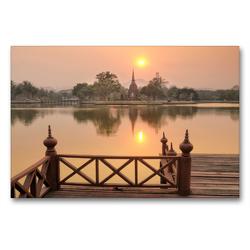 Premium Textil-Leinwand 90 x 60 cm Quer-Format Wat Sa Si, Sukhothai Historical Park, UNESCO World Heritage Site | Wandbild, HD-Bild auf Keilrahmen, Fertigbild auf hochwertigem Vlies, Leinwanddruck von Christian Heeb