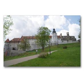 Premium Textil-Leinwand 90 x 60 cm Quer-Format Weg zu Schloss Hellenstein   Wandbild, HD-Bild auf Keilrahmen, Fertigbild auf hochwertigem Vlies, Leinwanddruck von Kattobello