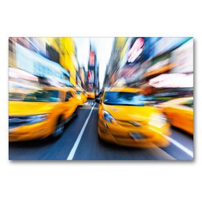 Premium Textil-Leinwand 90 x 60 cm Quer-Format Yellow Cabs brausen durch die Strassen von New York | Wandbild, HD-Bild auf Keilrahmen, Fertigbild auf hochwertigem Vlies, Leinwanddruck von CALVENDO