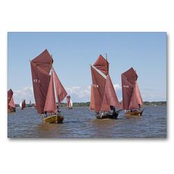 Premium Textil-Leinwand 90 x 60 cm Quer-Format Zeesenbootregatta   Wandbild, HD-Bild auf Keilrahmen, Fertigbild auf hochwertigem Vlies, Leinwanddruck von N N