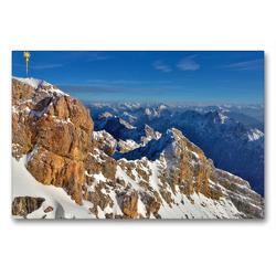 Premium Textil-Leinwand 90 x 60 cm Quer-Format Zugspitze mit Gipfelkreuz | Wandbild, HD-Bild auf Keilrahmen, Fertigbild auf hochwertigem Vlies, Leinwanddruck von Dieter-M. Wilczek