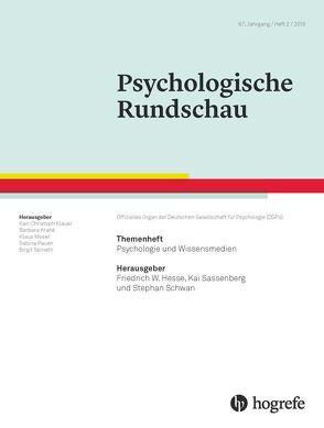 Psychologie und Wissensmedien von Hesse,  Friedrich W., Sassenberg,  Kai, Schwan,  Stephan