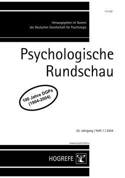 Psychologische Rundschau von Lukas,  Josef, Schneider,  Wolfgang