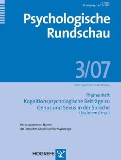 Psychologische Rundschau. Themenhefte / Kognitionspsychologische Beiträge zu Genus und Sexus in der Sprache von Irmen,  Lisa