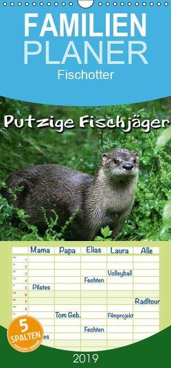 Putzige Fischjäger – Familienplaner hoch (Wandkalender 2019 , 21 cm x 45 cm, hoch) von Berg,  Martina