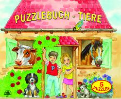 Puzzlebuch Bauernhoftiere 5 Puzzles (12 teilig) mit gereimten Texten von Fischer,  J., R. d.,  Clerk