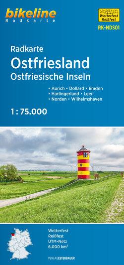 Radkarte Ostfriesland Ostfriesische Inseln von Esterbauer Verlag