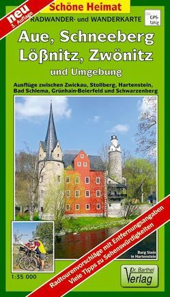 Radwander- und Wanderkarte Aue, Schneeberg, Lößnitz, Zwönitz und Umgebung