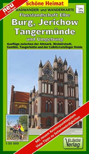 Radwander- und Wanderkarte Flusslandschaft Burg, Jerichow, Tangermünde und Umgebung