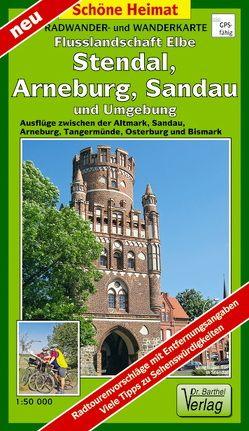 Radwander- und Wanderkarte Flusslandschaft Elbe, Stendal, Arneburg, Sandau und Umgebung