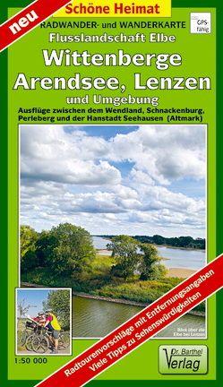 Radwander- und Wanderkarte Flusslandschaft Elbe, Wittenberge, Arendsee, Lenzen und Umgebung