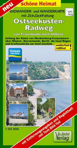 Radwander- und Wanderkarte mit Zick‑Zack‑Faltung Ostseeküsten-Radweg von Travemünde nach Ahlbeck