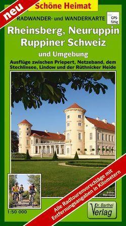 Radwander- und Wanderkarte Rheinsberg, Neuruppin, Ruppiner Schweiz und Umgebung